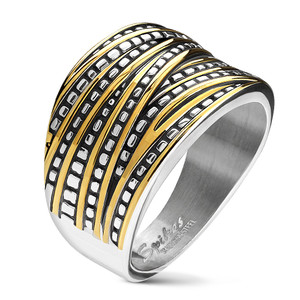 Two Tone Gold and Silver Overlapping Stainless Steel Band Ring