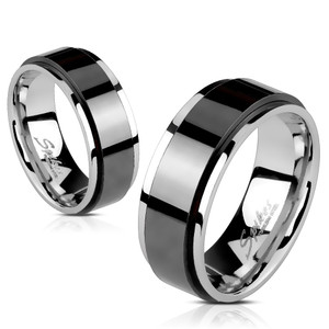 Black Stainless Steel Two Tone Spinner Ring