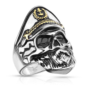 Old Captain Skeleton Skull Two Tone Stainless Steel Ring