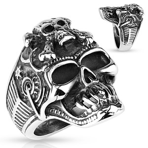 Crossboned Skull on Skeleton Steampunk Sided Stainless Steel Ring