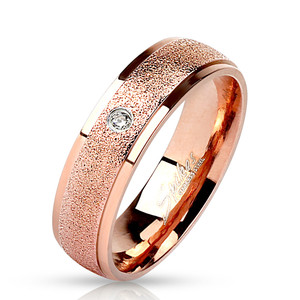 Rose Gold Clear Cubic Zirconia with Sand Blast Center Stainless Steel Ring