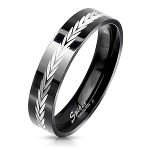 Black Stainless Steel Ring with Dia-Cut Arrows