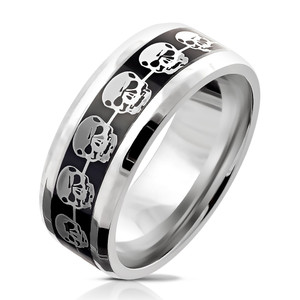 Chrome Skull Pattern Inlay Stainless Steel Ring