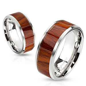 Wood Pattern Stainless Steel Band Ring