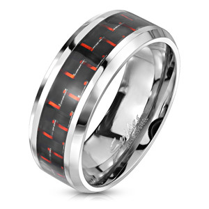 Black and Red Carbon Fiber Center Band Stainless Steel Ring