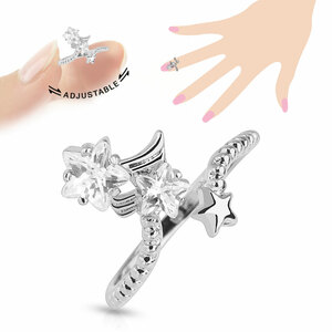 One Size Multi-Paved Star Gems Adjustable Nail Rings