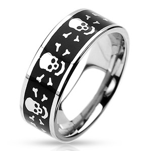 Skull with Bones Black Stainless Steel Ring