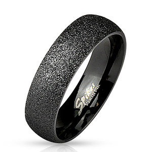 Black Classic Dome Stainless Steel Sand Blast Ring