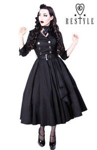 Black Gothic Prom Pin Up Coat Dress