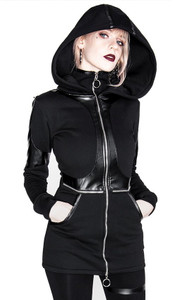 Paneled Faux Leather Gothic Hoodie