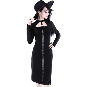 Black Scarlett Dress with leather strap and O-ring