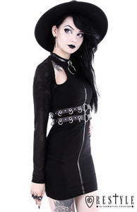 Ring Collared Black Gothic Pencil Dress