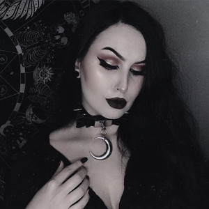 Vinyl Bow with Moon Pendant Gothic Choker