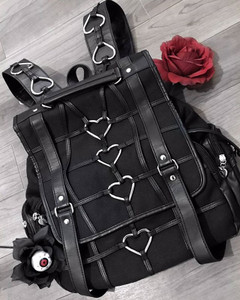 Black Heavy Heart Gothic Harness Square Backpack