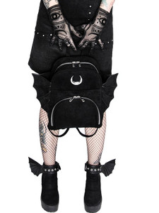 Elegant Gothic Black Backpack with Bat Wings and Crescent Moon