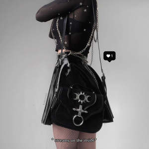 Triple Goddess Black Suede Sun & Moon Charm Gothic Bag