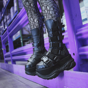 Black Multi Straped Buckle Combat Boots