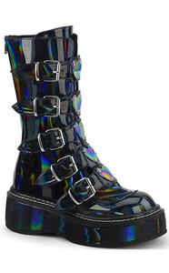 Black Holographic Metal Heart Platform Boots