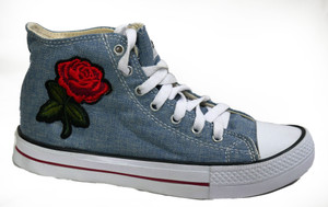 Panam - Denim Sneakers with Embroidered Rose
