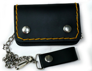 Black and Yellow Stitch Small Leather Wallet with Chain