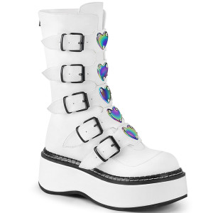 Faux Leather Platform Boots with Holographic Heart Plates