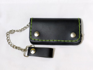 Green Stitch Large Leather Wallet with Chain