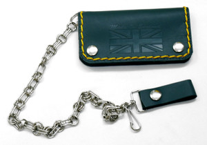 "Green Leather Wallet with Chain ""Made in England"""