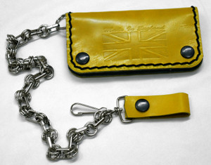 "Yellow Leather Wallet with Chain ""Made in England"""
