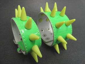 Green Spiked PVC Cuff Bracelet