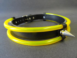 Black Leather Choker with Green Tubes
