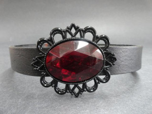 Black Leather Choker with Red Gem