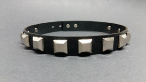 Black Leather Choker with Pyramid Rivet Studs