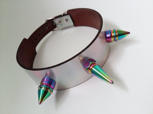 Holographic Leather Choker with Iridescent Spikes