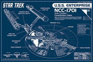 """Star Trek - Enterprise Blue 36x24"""" Poster"""