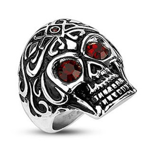 Tribal Skull with Red Gem Eyes Ring
