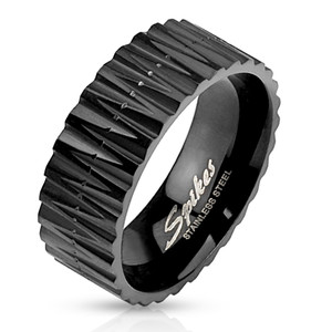 Zigzag Cut Black IP Band Ring
