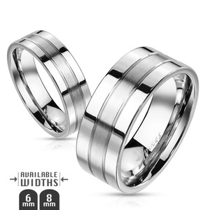 Double Lined Two-Tone Stainless Steel Ring