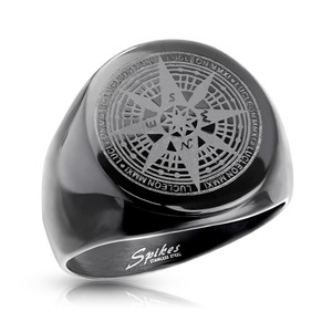 Black Matte Compass Rose Stainless Steel Ring