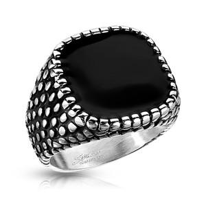 Black Enamel Square Dragon Skin Sides Stainless Steel Ring