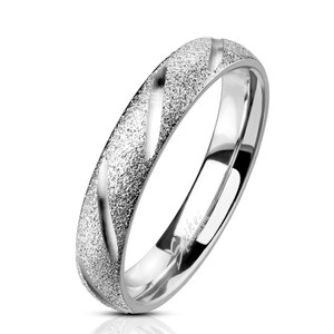 Deep Diagonal Cuts Stainless Steel Ring