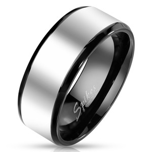 Solid Titanium Black Interior Two Tone Ring