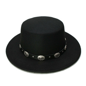 Black Amish Style Hat With Western Buckle Strap