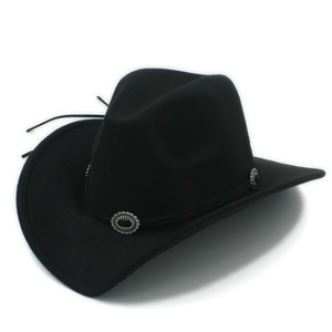 Black Western Style Hat With Buckle Strap