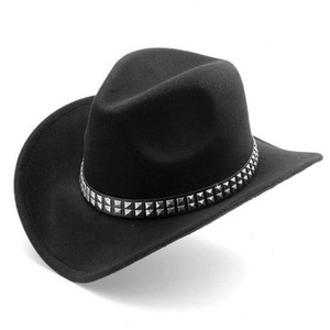 Black Western Style Hat With 2 Row Stud Strap