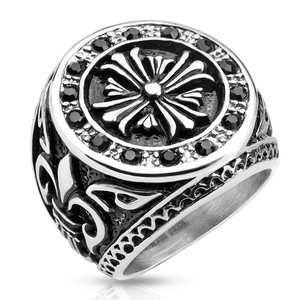 Celtic Cross Black Stainless Steel Biker Cast Ring