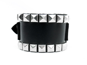 Leather Cuff Bracelet with Two Row Pyramid Studs