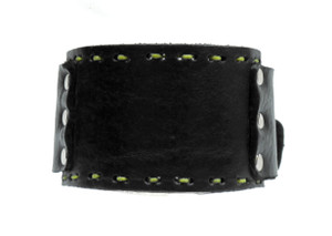 Leather Cuff Bracelet with Green Stitching