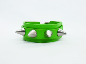 Green Leather Bracelet With Spikes