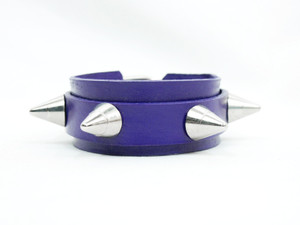 Purple Leather Bracelet With Spikes
