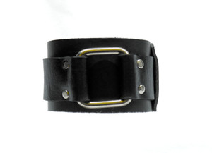 Black Leather Bracelet With Metal Square